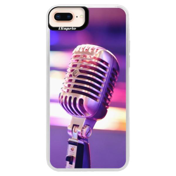 Neonové pouzdro Pink iSaprio - Vintage Microphone - iPhone 8 Plus