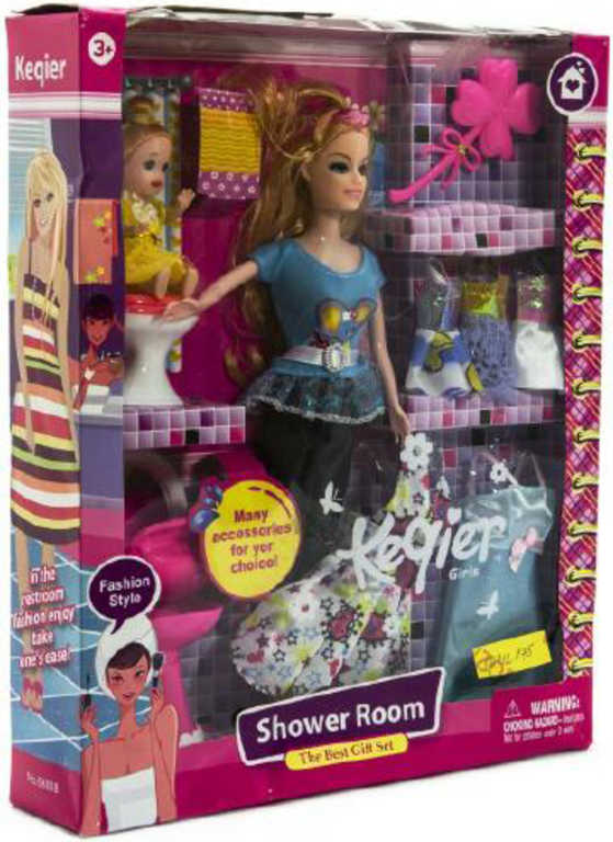 Koupelna toaletní herní set 2 panenky s oblečky a doplňky v krabici