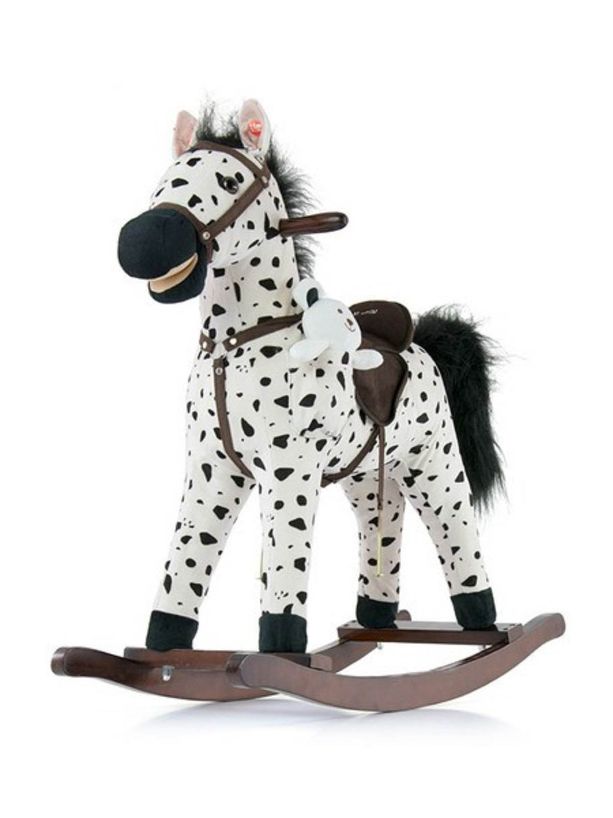 Houpací koník s melodií Milly Mally Mustang bílo-černý puntíkovaný - bílá