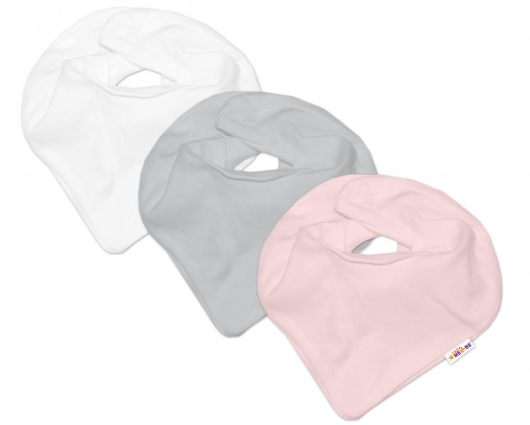 Baby Nellys Kojenecká dívčí sada šátků na krk BASIC - růžová, šedá, bílá - 3 ks - univerzální