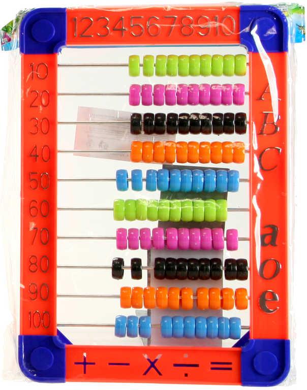 Počítadlo dětské plastové v sáčku stojánek 3 barvy