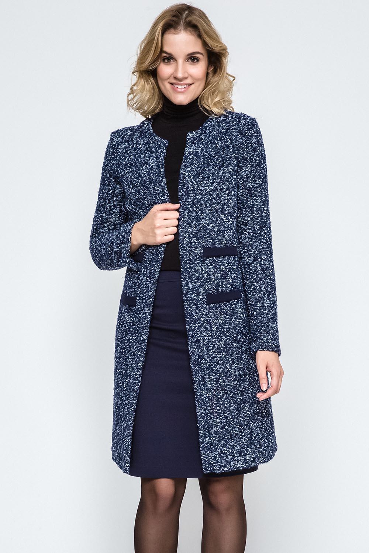 Dámský kabát Ennywear 240068 - Tmavě modrá - žíhaná 36 311592b6ec3