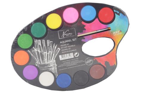Malovací paleta s akvarelovými vodovkami 12 ks