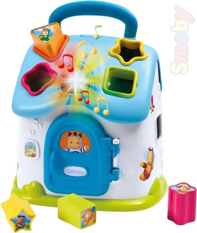 SMOBY Cotoons baby domeček vkládací modrý 4 kostky na baterie Světlo Zvuk pro miminko