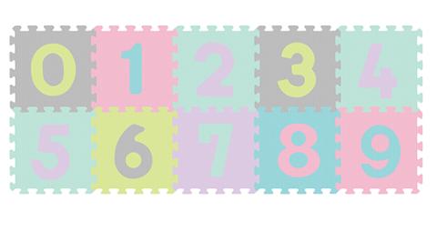 Pěnové puzzle Čísla - 10ks, pastelové