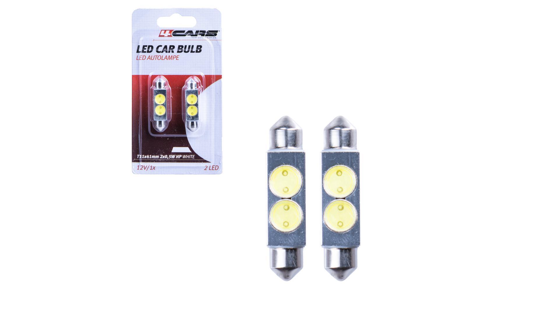 4CARS HQ sada LED žárovek T11X/41MM 2X0.5W HP bílá
