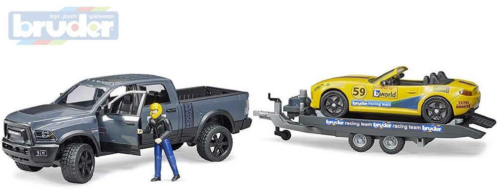 BRUDER 02504 Set auto RAM 2500 Power Wagon + Roadster s přívěsem a figurkou