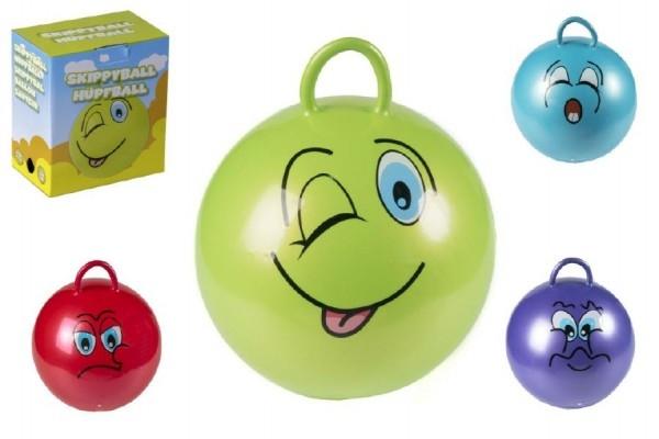 Skákací míč smajlík s úchytem 45cm nosnost 60kg asst 6 druhů v krabici