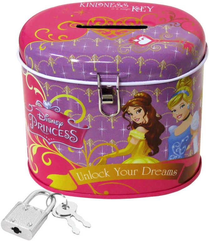 Pokladnička dětská ovál Princezny Disney set se zámkem a 2 klíčky plechová