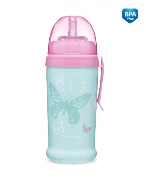 Canpol babies Sportovní nekapající láhev Butterfly - mátová
