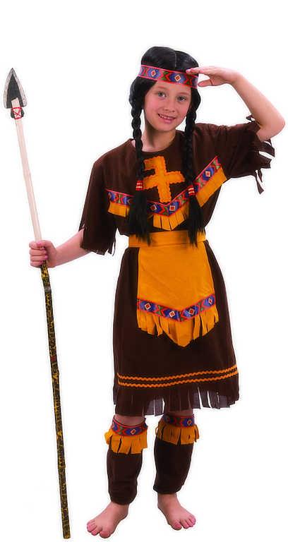 KARNEVAL Šaty INDIÁNKA vel. M (120-130 cm) 5-9 let hnědý KOSTÝM