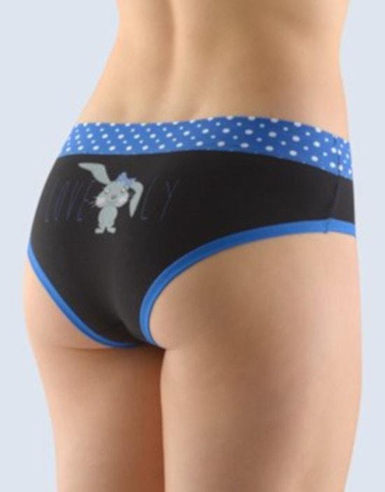 GINA dámské kalhotky francouzské, šité, bokové, s potiskem Funny 4 collection 14134P - atlantic černá