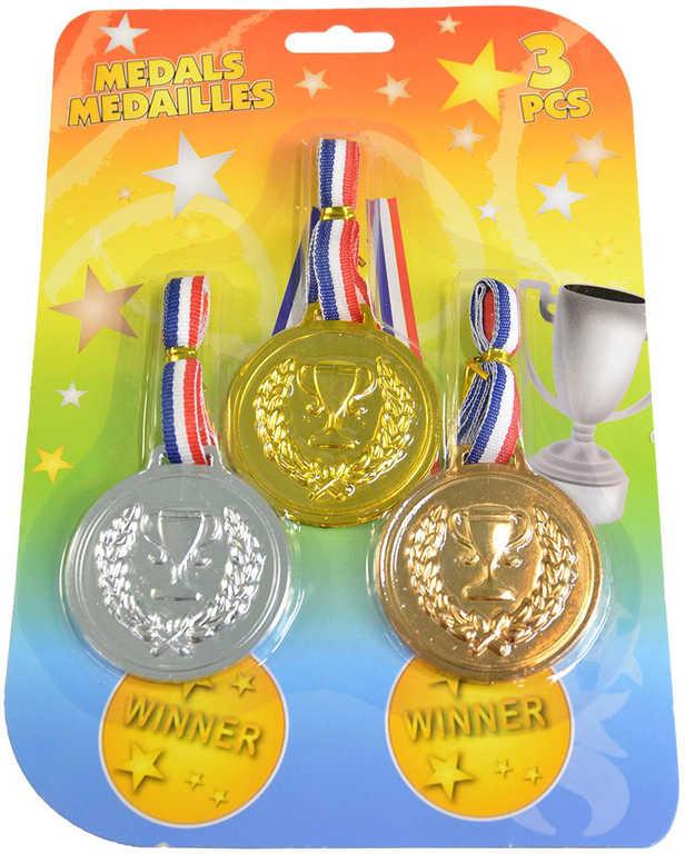 Medaile olympijské 12cm pro vítěze trikolora set 3ks na kartě plast