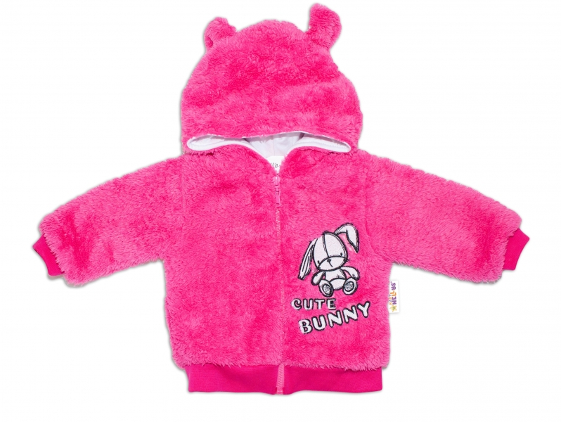 Baby Nellys Kojenecká chlupáčková bundička s kapucí Cute Bunny - malinová, vel.