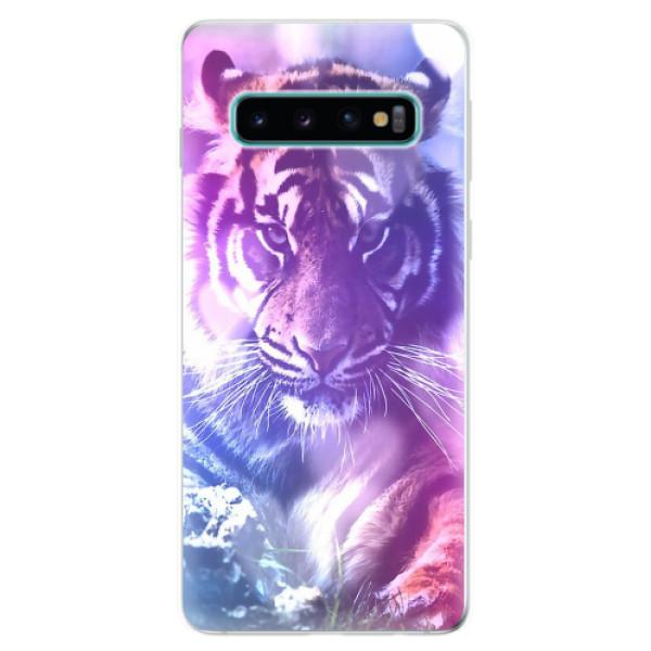 Odolné silikonové pouzdro iSaprio - Purple Tiger - Samsung Galaxy S10