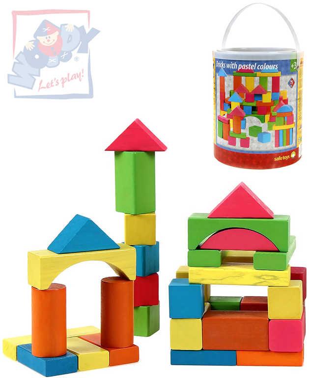 WOODY DŘEVO Stavebnice kostky barevné - pastelové, 75 dílů