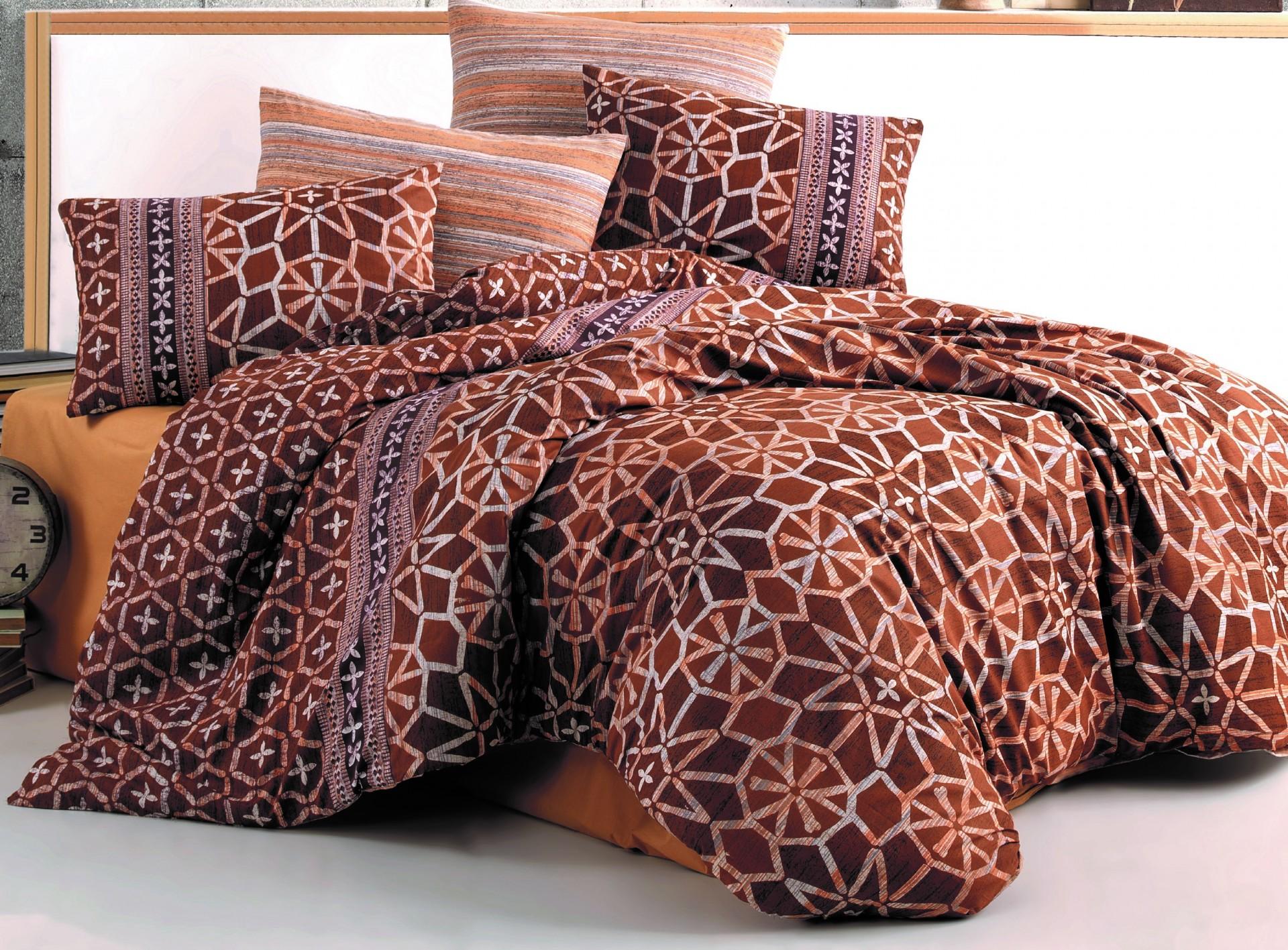 Povlečení bavlna 140x200, 70x90cm Ivory brown , Výběr zapínání: - nitěný knoflík