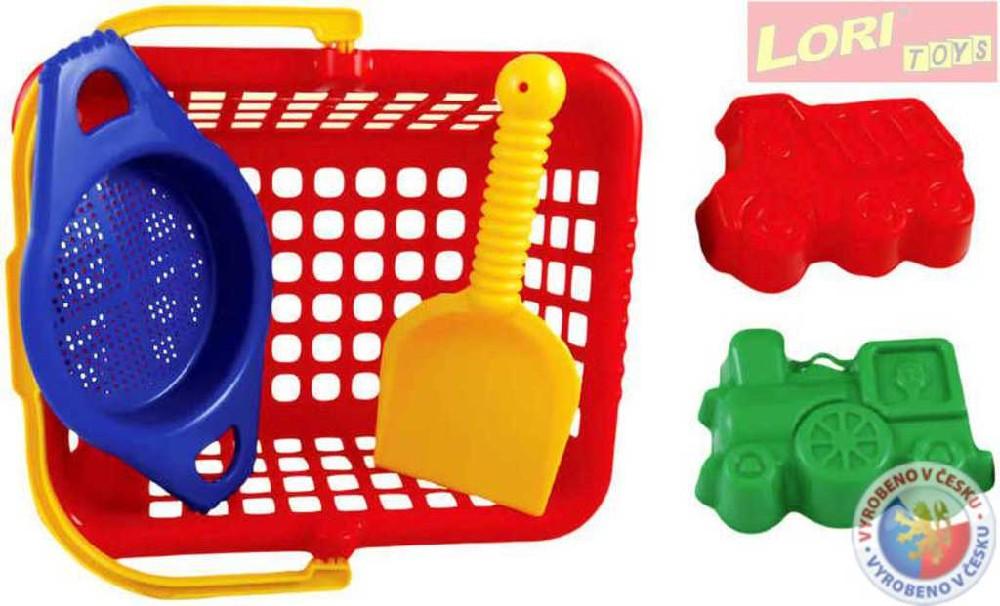 LORI 233 Sada malá v košíku se sítkem a lopatkou na písek plast