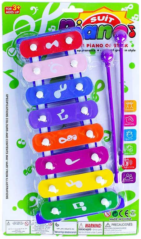 Xylofon dětský barevný 8 kláves set se 2 paličkami *HUDEBNÍ NÁSTROJE*