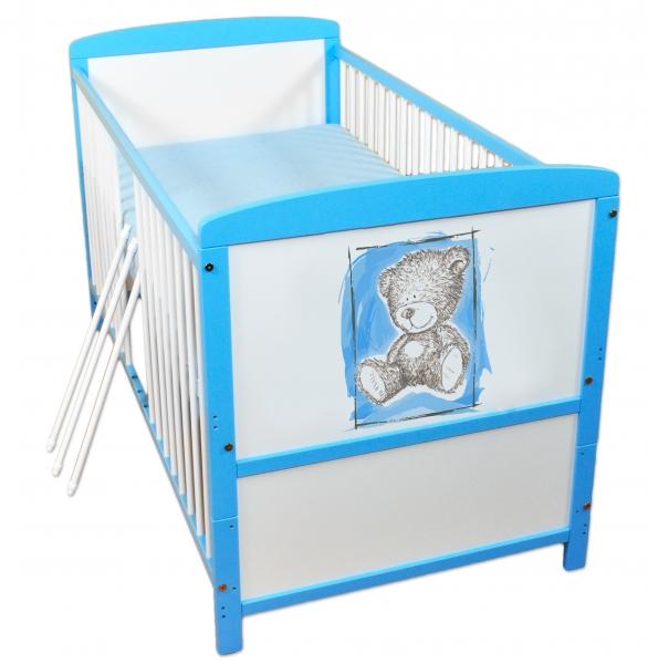 Dřevěná postýlka 2 v 1 Nellys Sweet Dreams by Teddy - modrá/bílá - 120x60