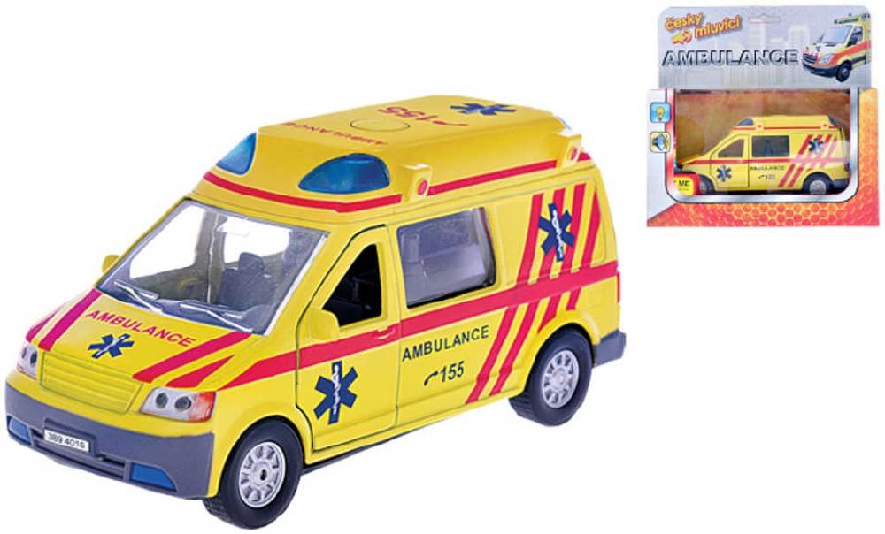 Auto ambulance 13cm zpětný nátah PB CZ mluvící sanitka Světlo Zvuk Kov