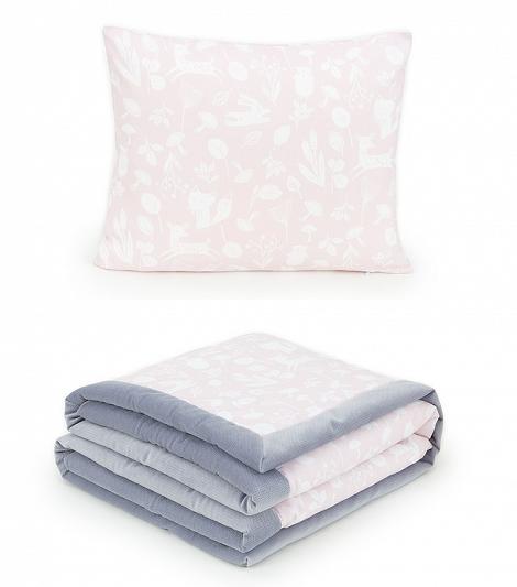 2-dílná sada - oboustranná dečka Velvet 75 x 100 cm s polštářkem - Les sv. růžový/šedá