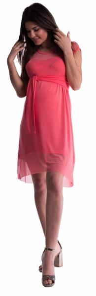 Be MaaMaa Těhotenské šaty se šifonovým přehozem - korál - L - L (40)