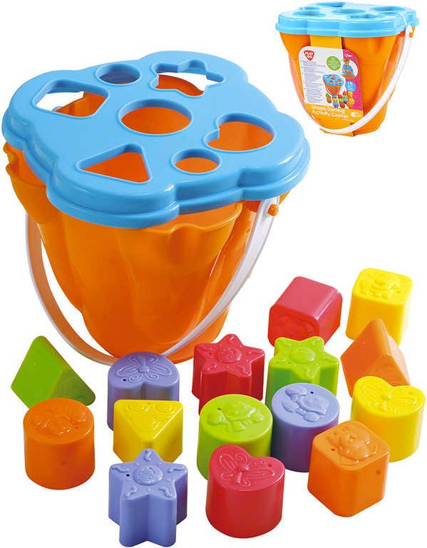 Baby vkládací kyblík set košík s víkem + 15 tvarů na vložení plast pro miminko