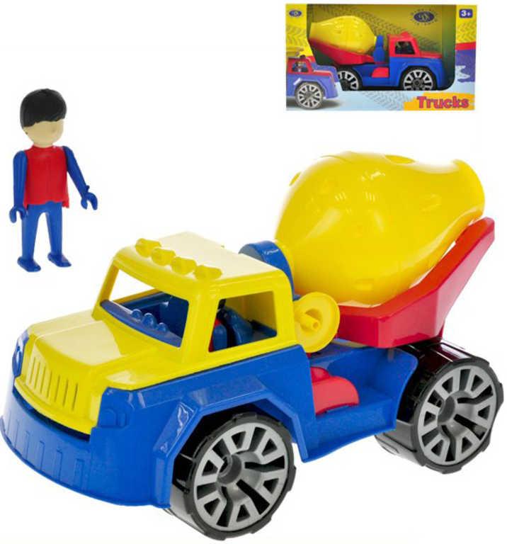 Auto barevné stavební 30cm míchačka set s panáčkem v krabici plast