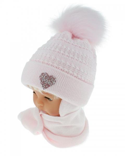 BABY NELLYS Zimní čepička s šálou - chlupáčková bambulka - sv. růžová se srdíčkem - 12/24m