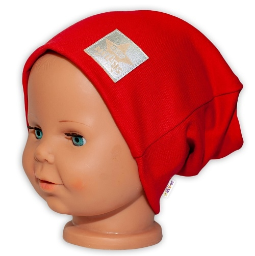 baby-nellys-hand-made-detska-funkcni-cepice-s-dvojitym-lemem-cervena-48-50-cepicky-obvod