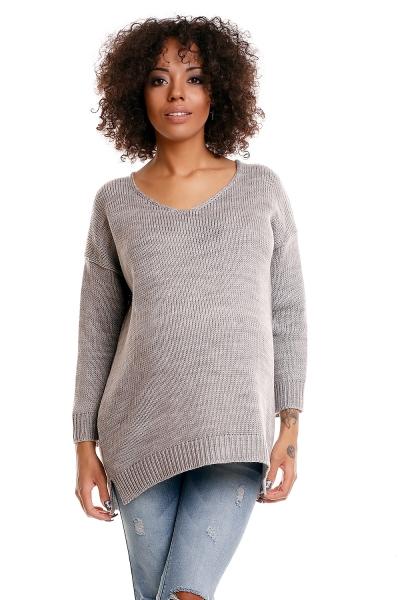 Pohodlný těhotenský svetřík s rozparky - sv. šedý - UNI