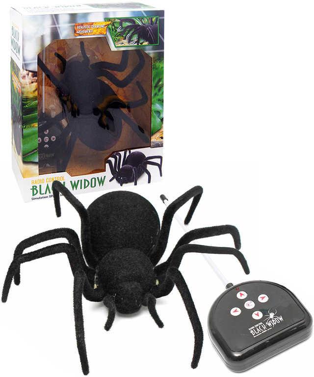 RC Pavouk černá vodva na baterie na dálkové ovládání 30cm svítící oči
