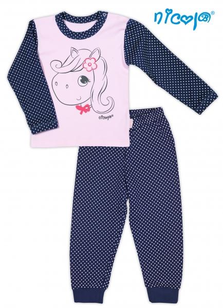 Bavlněné pyžamko NICOL LOVELY PONY- Pony v růžové/tm. modré, vel. 80 - 80 (9-12m)