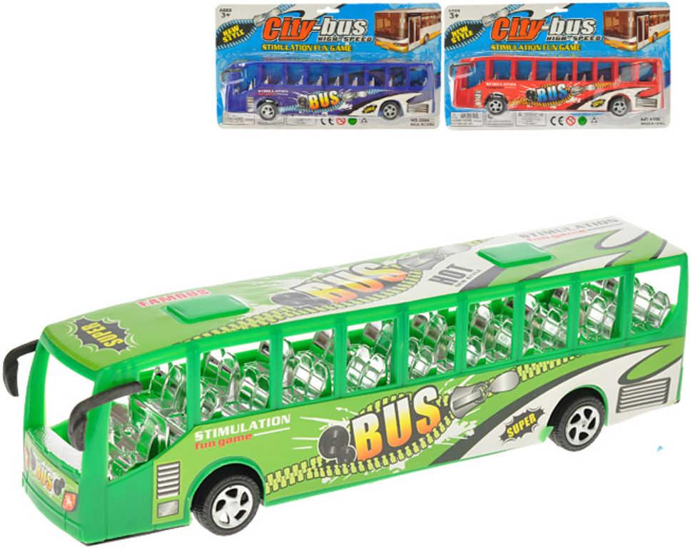 Autobus plastový 27cm na setrvačník 3 barvy