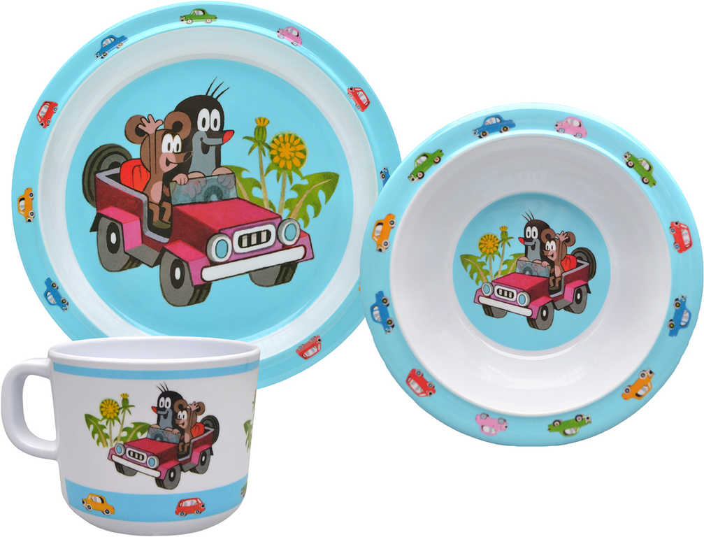 MORAVSKÁ ÚSTŘEDNA Dětské nádobí set 3ks Krtek (Krteček) Džíp