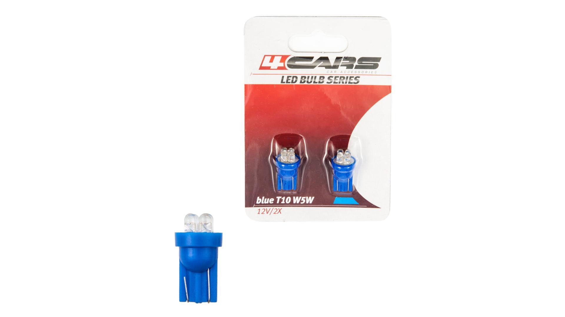 4CARS LED žárovka 4LED 12V T10 modrá