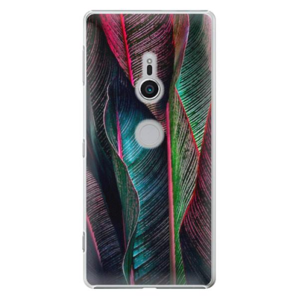 Plastové pouzdro iSaprio - Black Leaves - Sony Xperia XZ2