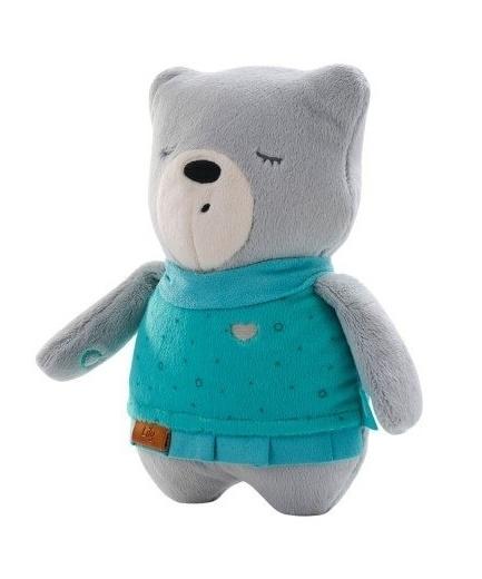Šumící mazlíček Medvídek Lily 25 cm - šedý/mátová