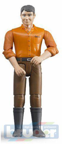 BRUDER 60007 Figurka muž hnědé kalhoty oranžová košile