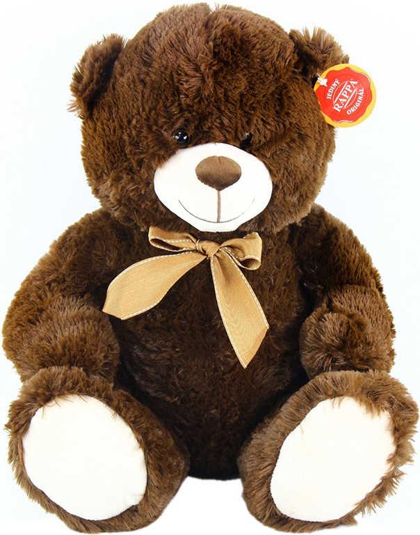 PLYŠ Medvěd sedící tmavý 40cm s mašlí *PLYŠOVÉ HRAČKY*