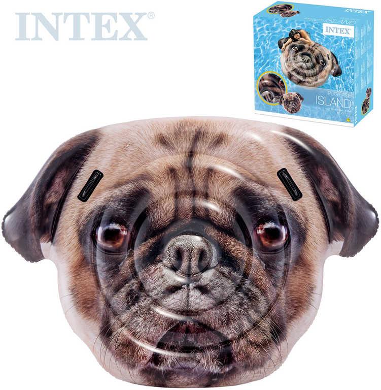 INTEX Lehátko nafukovací pes Mops 173x130cm matrace na vodu s úchyty 58785