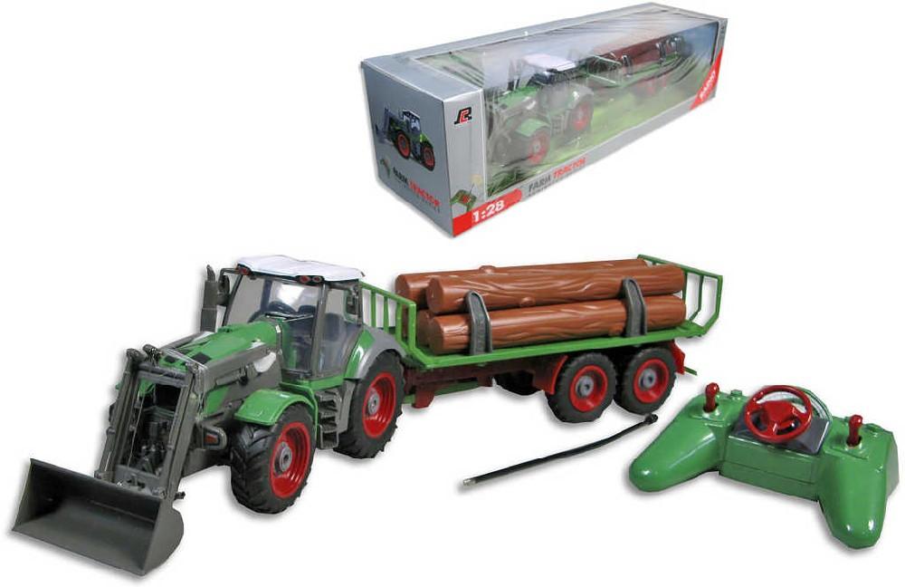 RC Traktor na baterie s radlicí a přívěsem 1:28 na dřevo na vysílačku plast