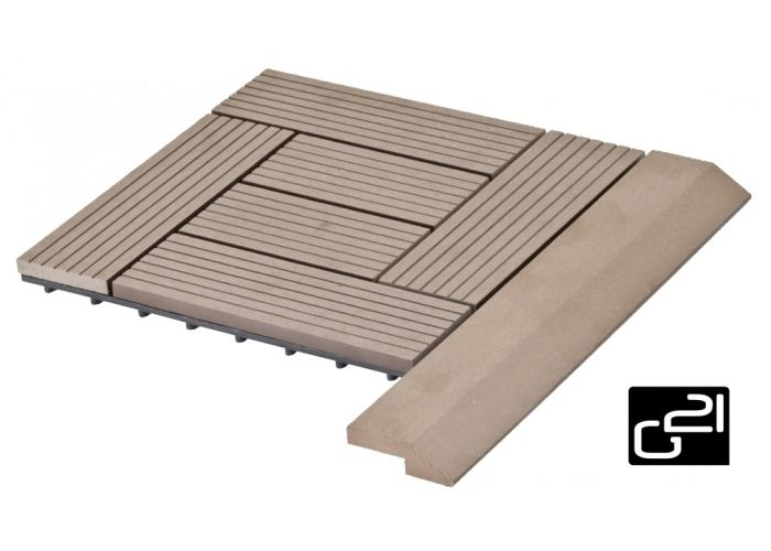 Přechodová lišta G21 pro WPC dlaždice indický teak, 38,5x7,5 cm rohová