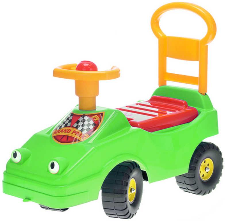MAD Baby odrážedlo auto zelené s klaksonem 54cm odstrkovadlo s očima