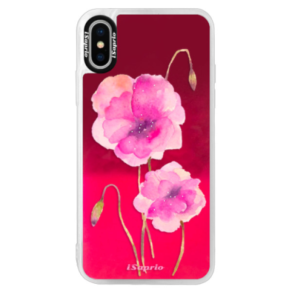 Neonové pouzdro Pink iSaprio - Poppies 02 - iPhone XS