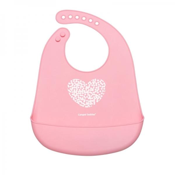 Silikonový bryndák s kapsičkou Canpol babies, Pastel - růžový