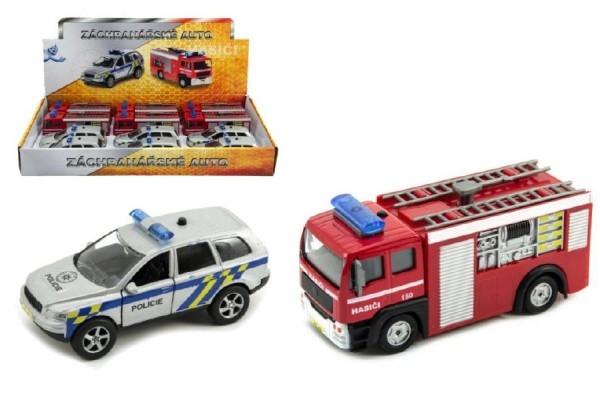Záchranářské auto policie/hasiči kov 11cm na zpětný chod na baterie se světlem a zvuk
