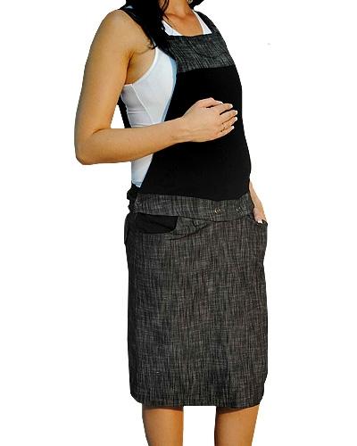 Těhotenské šaty/sukně s láclem - černý - melírek - S