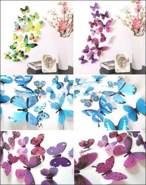 3D motýlci na stěnu 12 ks